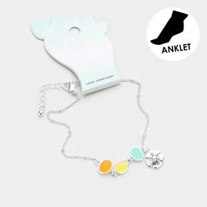 Women's Sea Glass Sand Dollar Anklet Bracelet